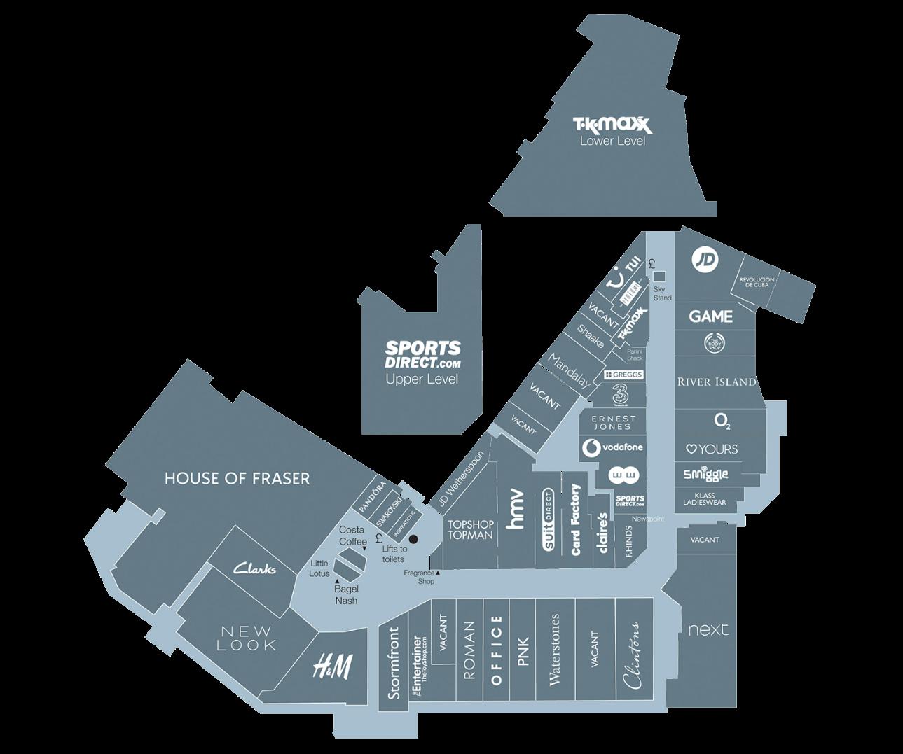 Kingsgate Shops Map